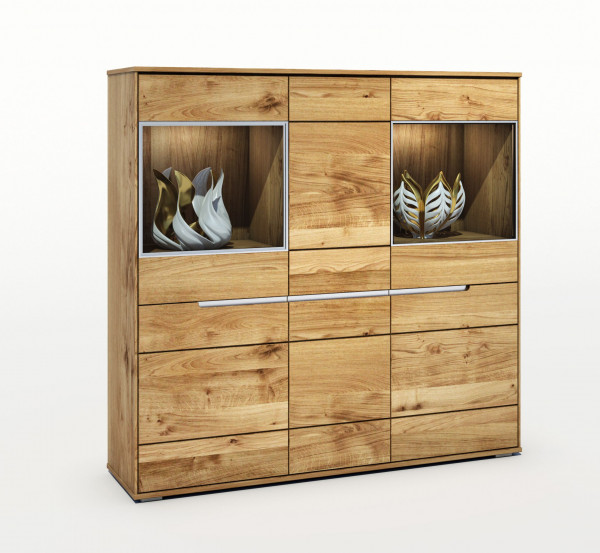 Massiv Eiche - Serie Lena - Highboard - Alu Griff design !