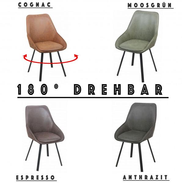 Esszimmerstuhl - DEANS - Öko Leder - 180° Drehbar - 4 Farben