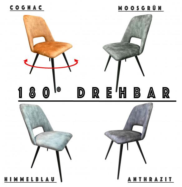Esszimmerstuhl - BEYONS - Samtstoff - 180° Drehbar - 4 Farben