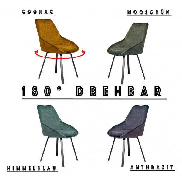 Esszimmerstuhl - Deans - Samtstoff - 180° Drehbar - 4 Farben