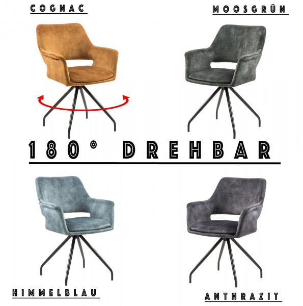 Esszimmerstuhl - MASTRO - Samtstoff - 180° Drehbar - 4 Farben