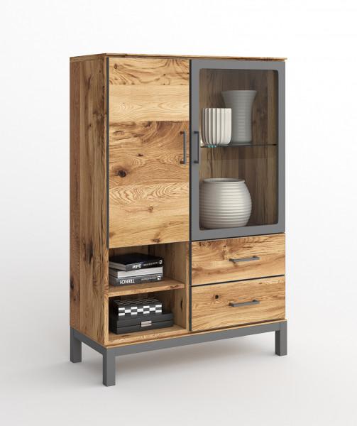 Balkeneiche Furniert - Serie Funda - design -Low Vitrine